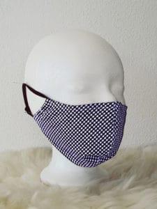 Gesichtsmaske mit Nasenbügel, kariert kariert weiß/blau Mund- und Nasenmaske, atmungsaktiv, Community-Maske, Alltagsmaske, Mund- und Nasenmaske