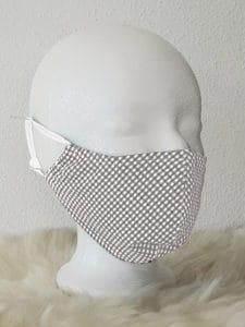 Gesichtsmaske mit Nasenbügel, kariert kariert weiß/grau Mund- und Nasenmaske, atmungsaktiv, Community-Maske, Alltagsmaske, Mund- und Nasenmaske