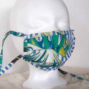 "Design face mask ""Leaves"" with nose clip, washable, style natural / jungle / jungle green blue"
