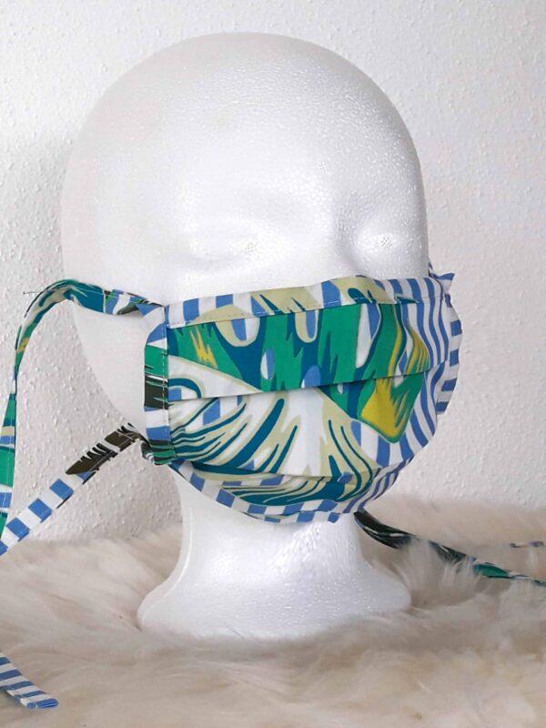 """Design-Gesichtsmaske """"Leaves"""" mit Nasenbügel , waschbar, Style Natur / Dschungel / Jungle grün blau"""