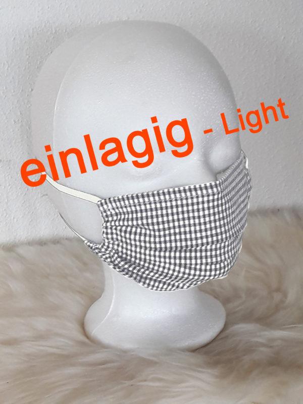 """GesichtsMaske """"Karo-LIGHT"""", einlagig, extrem atmungsaktiv, BehelfsMaske für Werkstatt, Handwerk, Büro, Verkauf uvm."""