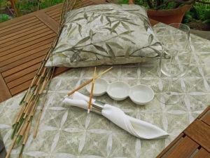 """Serie """"Bamboo"""" Bambus Dschungel Jungle Kissen Tischläufer Serviette"""
