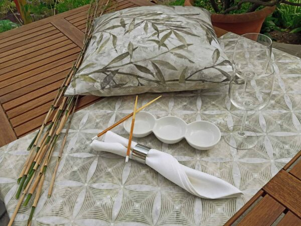 """Bamboo"" series, table runners, napkins and cushions in the style of bamboo - Asian green grey"