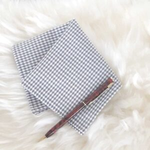Pocket square check gray / white for suit / jacket