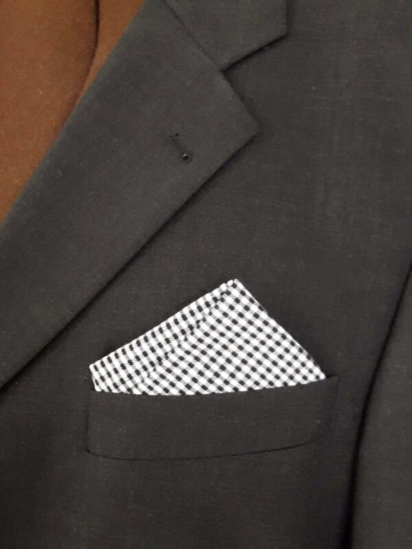 Einstecktuch Karo schwarz/weiss für Anzug / Sakko