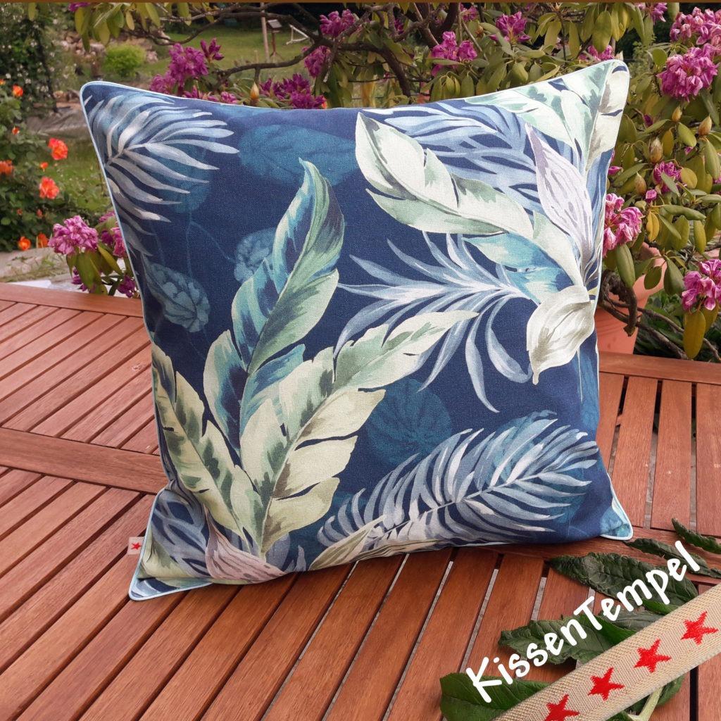 """Sommer-Kissen """"Blue Jungle"""" Kissenbezug 50x50 cm Motiv Dschungel Jungle Blätter Botanik"""