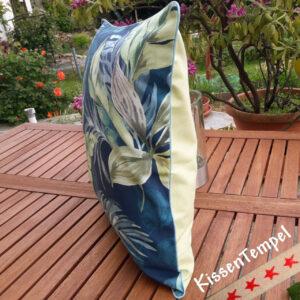 """Design-Kissen """"Blue Jungle"""" Kissenbezug 50x50 cm Motiv Dschungel Jungle Blätter Botanik"""
