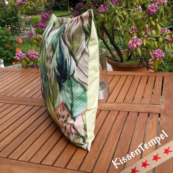 """Designer-Kissen """"Botanic"""" Kissenbezug 50x50 cm Motiv Dschungel Jungle Blätter Botanik grün türkis rosa"""