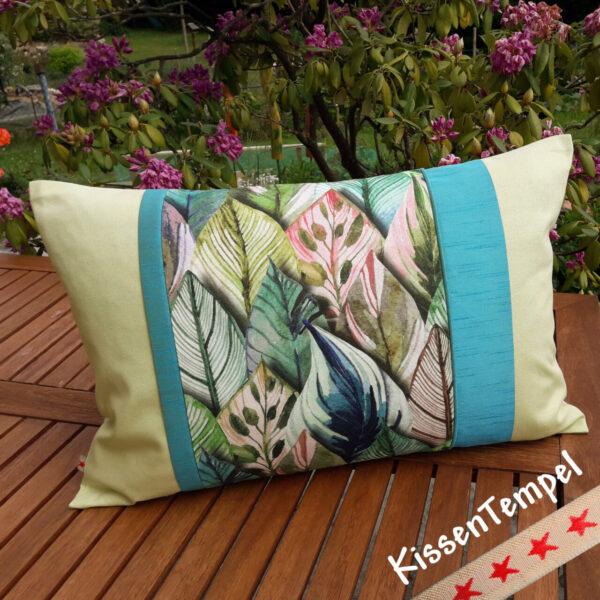 """Designer-Kissen """"Botanic"""" Kissenbezug 50x50 cm Dschungel Jungle Blätter Botanik grün rosa türkis"""