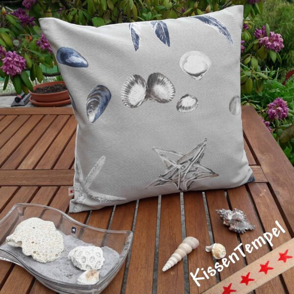 "Designer-Kissen ""Shells"" Kissenbezug 40x40 cm Motiv: maritim, Muscheln, Meer, Underwater"