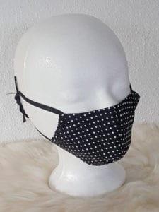 Design-Gesichtsmaske Dots-Black mit Nasenbügel , schicke Ausgeh-Maske, Shopping, Büro