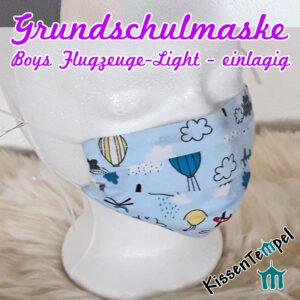 """Coole sehr atmungsaktive GrundschulMaske für Jungen ca. 5-10 Jahre, """"Boy Flugzeuge Light"""" opt. mit Nasenbügel, Kinder Gesichtsmaske hellblau"""