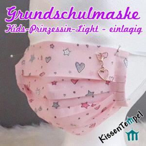 Coole Mädchen-Gesichtsmaske 5-10 Jahre, >Kids Prinzessin Light< sehr atmungsaktiv, einlagig, opt. mit Nasenbügel, Kindermaske, Grundschulmaske