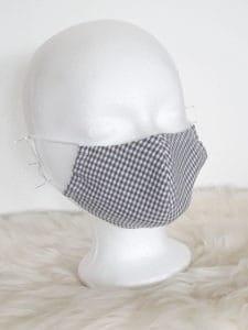 """Design-Gesichtsmaske """"Karo-GRAU/Weiss-Style"""" mit Nasenbügel"""