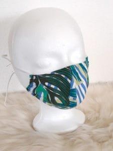 """Design-Gesichtsmaske """"Leaves-Style"""" mit Nasenbügel , waschbar , Style Natur / Dschungel / Jungle grün blau"""