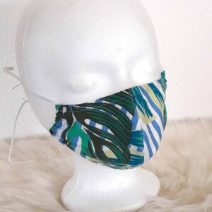 "Design face mask ""Leaves-Style"" with nose clip, washable, style natural / jungle / jungle green blue"