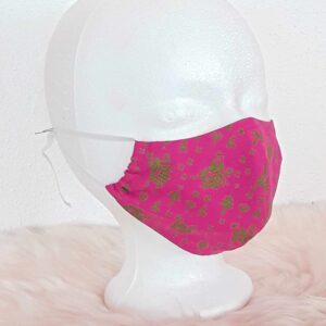 "Traditional face mask ""Pink-Bavarian-Style"" with nose clip, mouth-nose mask in traditional costume look, country house style, Bavarian, traditional"