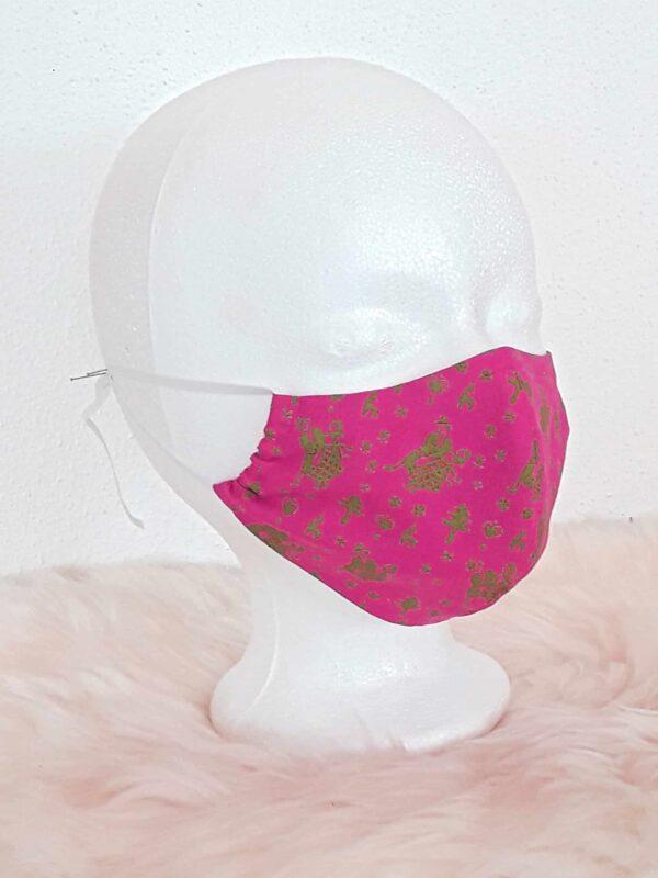 """Trachten-Gesichtsmaske """"Pink-Bavarian-Style"""" mit Nasenbügel, Mund-Nasen-Maske im Trachtenlook, Landhaus-Stil, bayerisch, trachtig"""