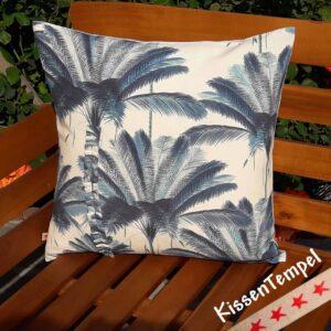 """Kissen """"Blue Palm"""", 50x50 cm, Design-Kissenbezug, Baumwolle, Palmen, Meer, Tropisch, blau-türkis"""