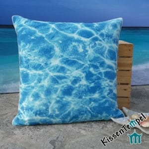 "Decorative pillow ""Blue Water"", 50x50 cm, pillow case, motif: shimmering water blue turquoise"