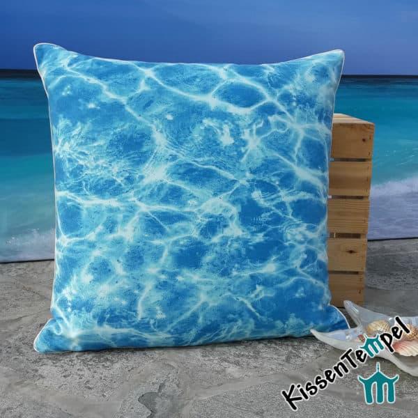 """DekoKissen """"Blue Water"""", 50x50 cm, Kissenbezug, Motiv: schimmerndes Wasser blau türkis"""