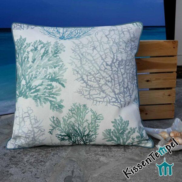 "DekoKissen ""Coral"", 50x50 cm, Kissenbezug, Motiv: Korallen türkis blau grau"