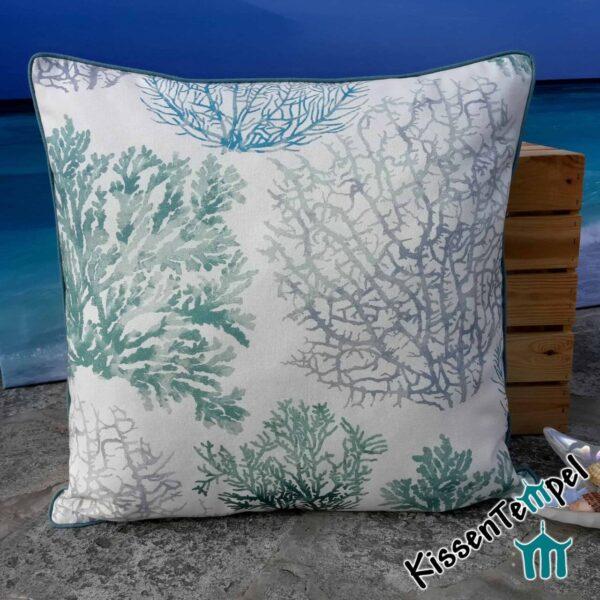 "DekoKissen ""Coral"", 40x40 cm, Kissenbezug, Motiv: Korallen türkis blau grau"
