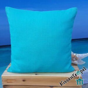 Leinenkissen >Linen turkis< 40x40 cm, DekoKissen mit edlem Paspol, einfarbig türkis blau grün, KissenHülle, KissenBezug, Strandhaus schlicht