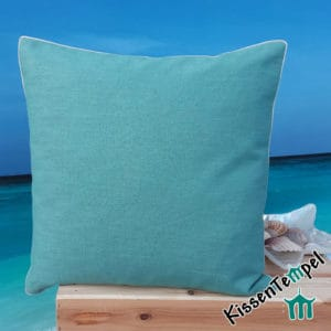 "Decorative pillow ""Linen bleu"", 40x40 cm, linen pillow, plain-colored light petrol"