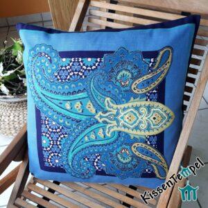 "Kissen ""Oceanetti"", 60x60 cm, Originalstoff Vulcano, Dekokissen Italienisches Design, türkis blau"