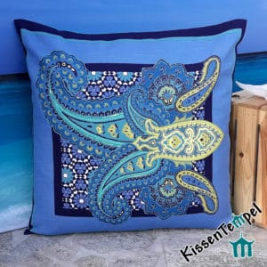 """Oceanetti"" cushion, 60x60 cm, original Bassetti Vulcano fabric, turquoise blue decorative cushion"