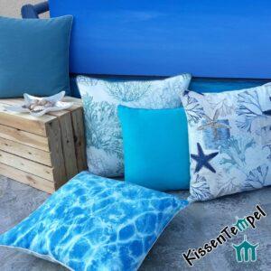 "Kissenserie ""Mare"" Kissen mit Motiven Meer, Karibik, SeeSterne, Korallen türkis blau"
