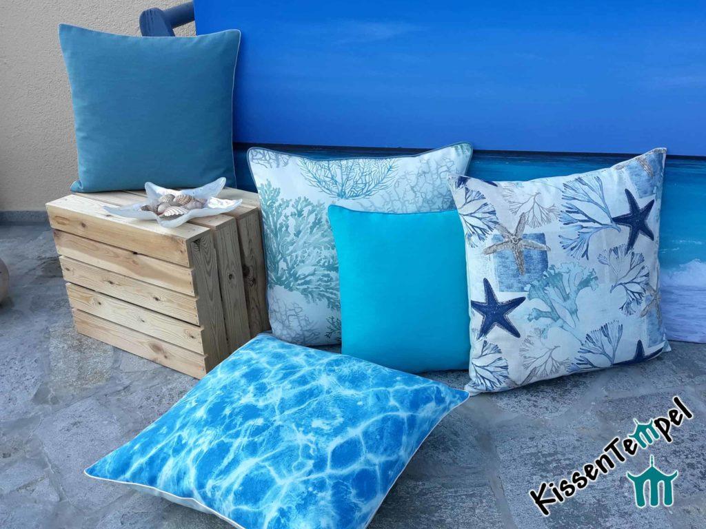 """Cushion Series """"Mare"""" * cushions with sea, caribbean, sea star, coral motifs turchese blu azzurro"""