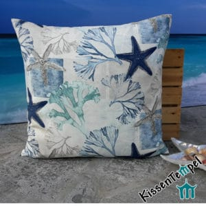"Decorative pillow ""Starfish"", 50x50 cm, pillow case, motif: sea stars and corals turquoise blue"