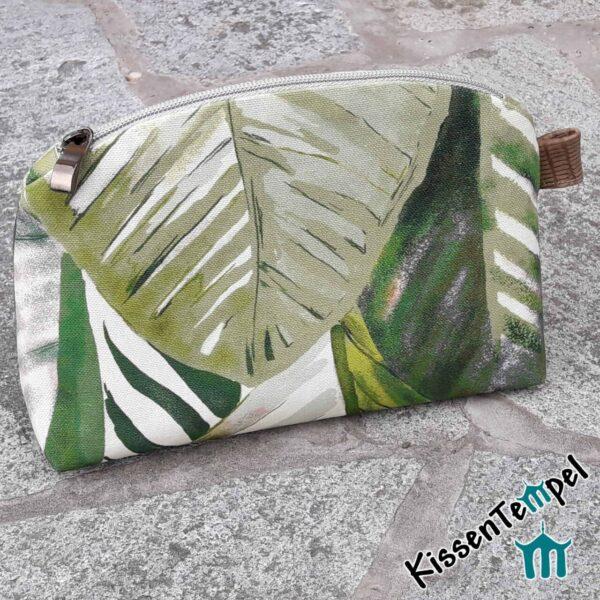 "KosmetikTasche ""Aloha"", SchminkTasche | KulturTasche | KosmetikBeutel, Stil Dschungel Jungle Blätter grün"