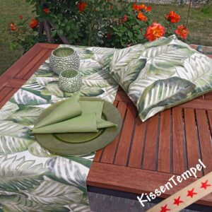 "Series ""Aloha"" * pillows, table runners, placemats, napkins green grey white creme"