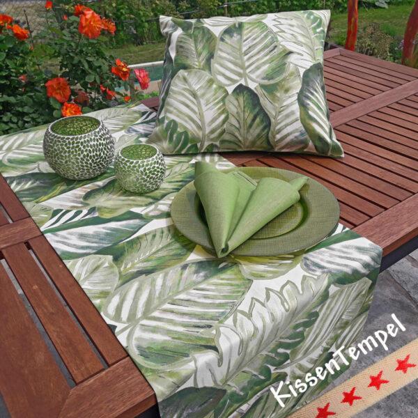 Serie Aloha Dschungel Jungle Kissen Tischläufer Serviette Tischset Blätter Botanik grün grau weiss creme