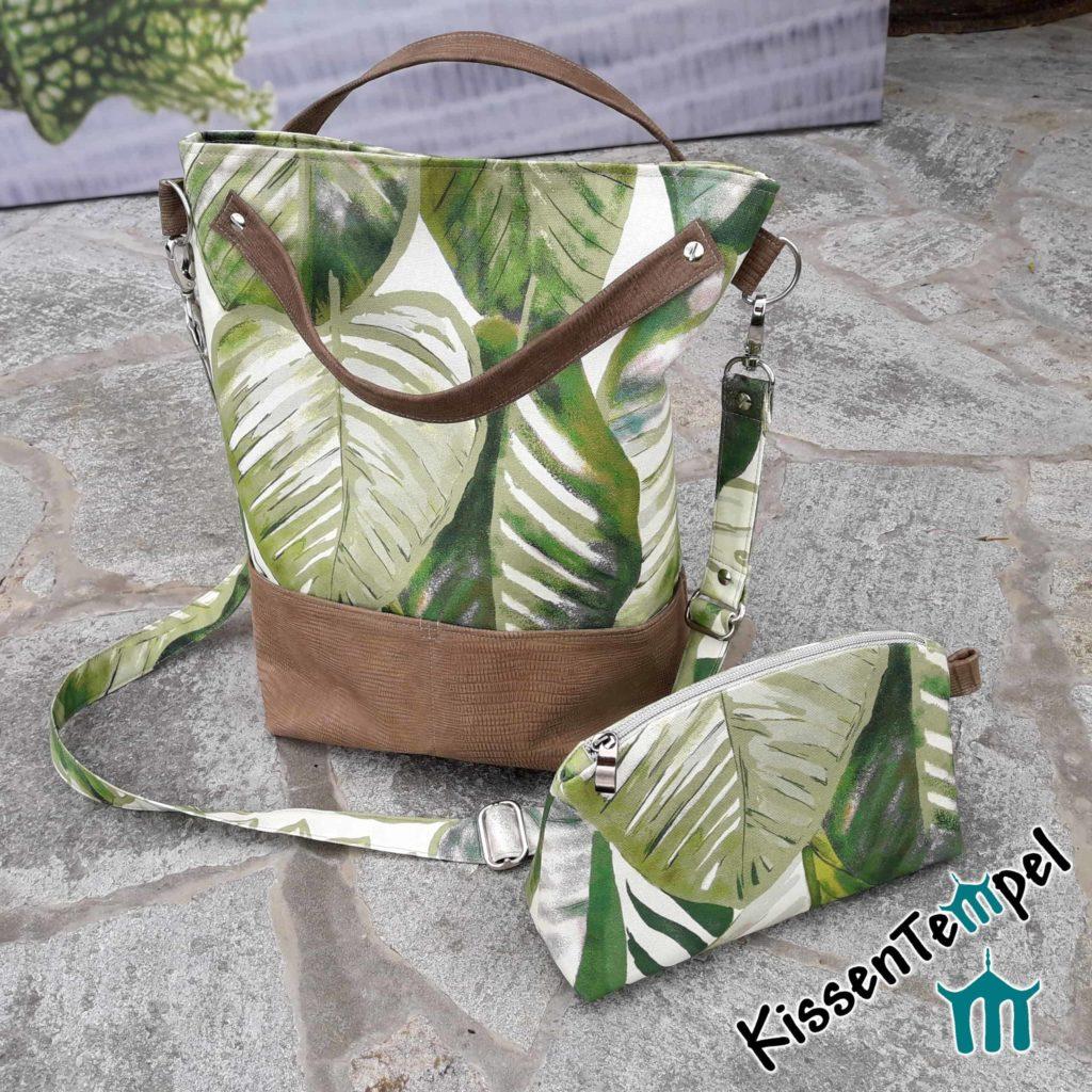 "SchulterTasche & KosmetikTasche""Aloha"", DesignShopperBag, UmhängeTasche, Stil Dschungel Jungle Blätter grün braun"