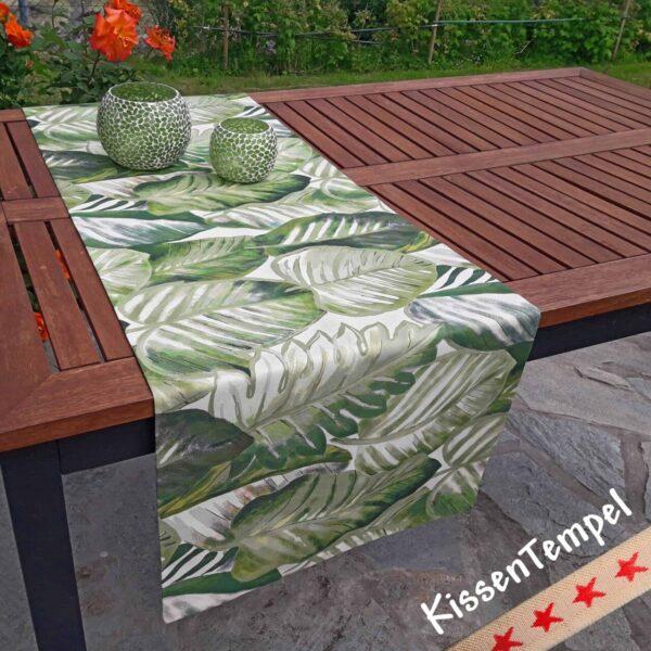 Tischläufer Aloha, Motiv Dschungel Jungle Blätter Botanik grün weiss grau creme