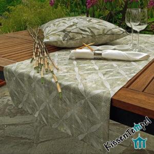 Tischläufer & DekoKissen >Bamboo< !doppellagig! MittelDecke, TischDecke, olive creme grau