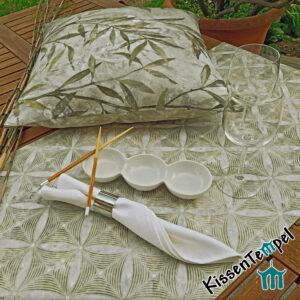 Kissen & Tischläufer >Bamboo< !doppellagig! MittelDecke, TischDecke, olive creme grau