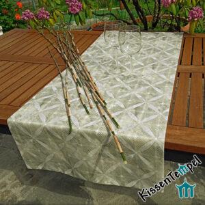 Tischläufer >Bamboo< (Bambus) !doppellagig! MittelDecke, olive creme grau
