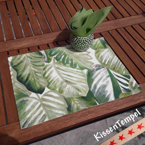 Tischset Aloha, Motiv Dschungel Jungle Blätter grün weiss grau creme