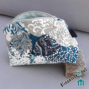 KosmetikTasche >Blue Sea< SchminkTasche | KulturTasche | KosmetikBeutel | Utensilio, türkis blau grau maritim Meer Wasserwelt