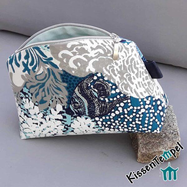 KosmetikTasche Blue Sea, Kulturtasche, Schminktasche maritim Wasserwelt blau türkis