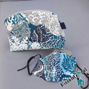 KosmetikTasche Blue Sea mit Gesichtsmaske, Kulturtasche, Schminktasche maritim Wasserwelt blau türkis