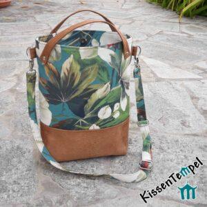 "SchulterTasche ""Tropicana"", DesignShopperBag, UmhängeTasche, Stil Dschungel Jungle Blätter grün"