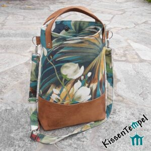 """UmhängeTasche """"Tropicana"""", Shopper handgemacht, Stil Dschungel Jungle Blätter grün"""