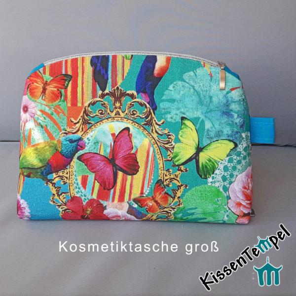 KosmetikTasche XL >Happy Arts< türkis orange gelb grün blau, SchminkTasche | Utensilio | KulturTasche | KosmetikBeutel