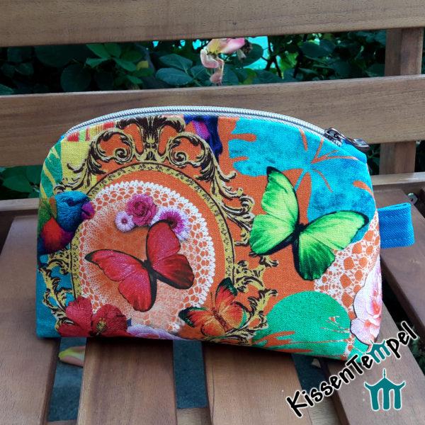 KosmetikTasche >Happy Arts< türkis orange gelb grün blau, SchminkTasche | Utensilio | KulturTasche | KosmetikBeutel